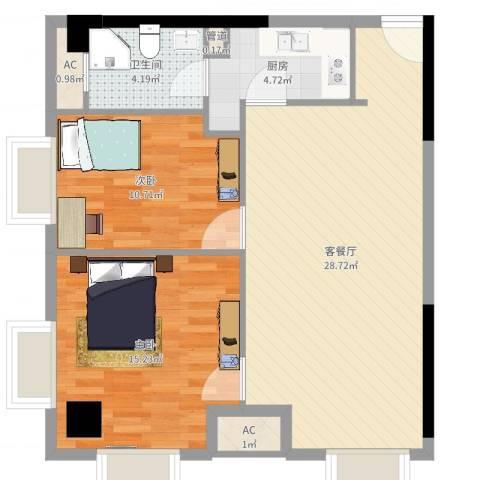 金地自在天地2室2厅1卫1厨82.00㎡户型图