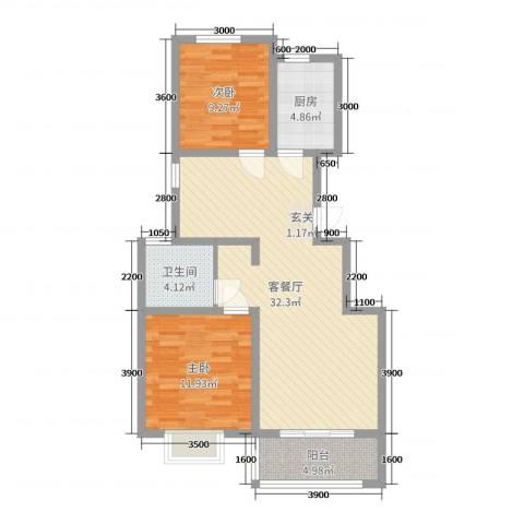 银丰唐郡・牡丹园2室2厅1卫1厨97.00㎡户型图