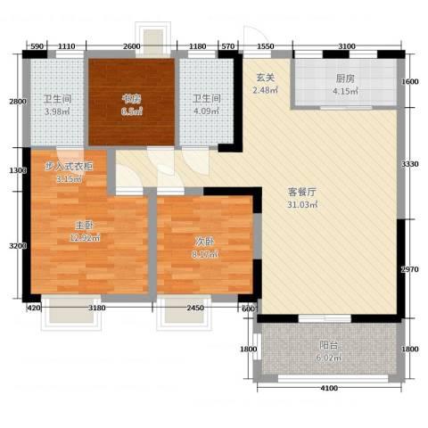 中冶南方韵湖首府3室2厅2卫1厨112.00㎡户型图