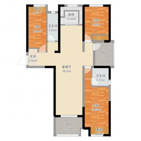 保利建业・香槟国际3室2厅2卫1厨121.00㎡户型图