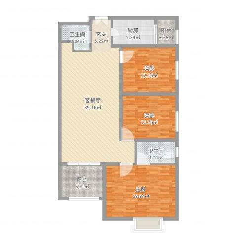 联盟新城3室2厅2卫1厨130.00㎡户型图
