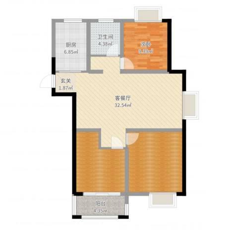 易郡龙腾1室2厅1卫1厨104.00㎡户型图