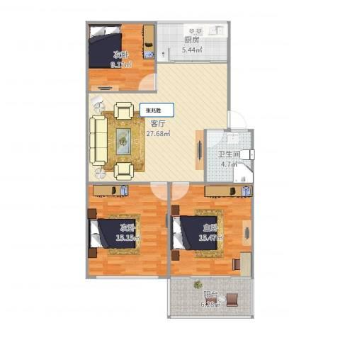 辛甸花园3室1厅1卫1厨105.00㎡户型图