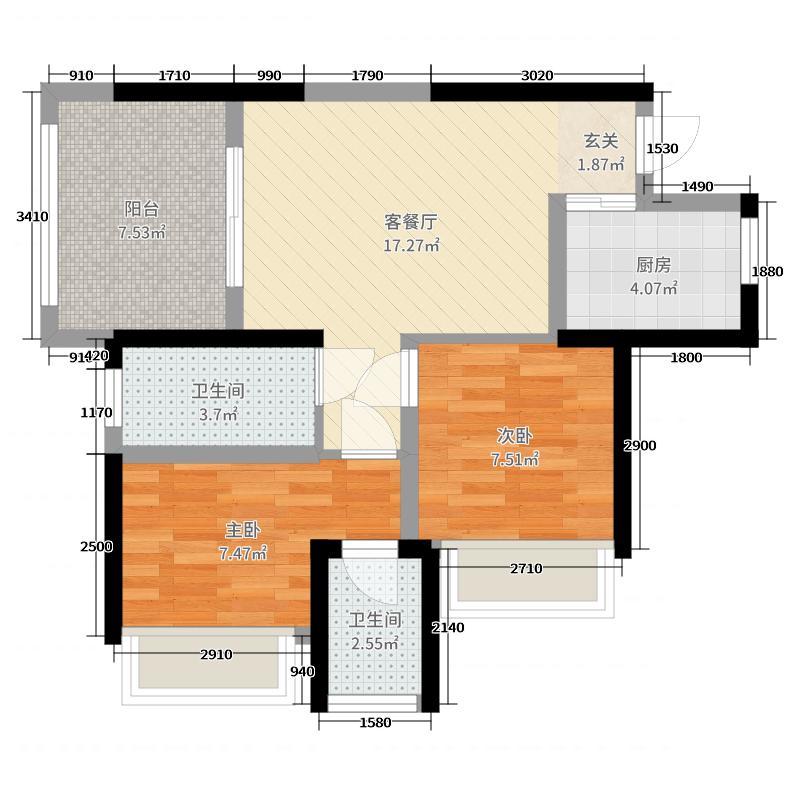 世茂・茂御府68.00㎡6、7#楼Aa户型2室2厅1卫1厨