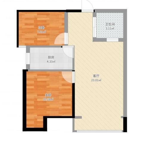 小镇西西里2室1厅1卫1厨60.00㎡户型图