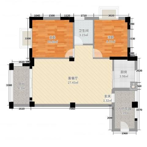 十里蓝山2室2厅1卫1厨79.00㎡户型图