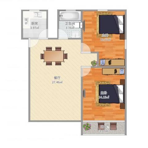 罗山七村博山东路173弄8号601室2-1-12室1厅1卫1厨82.00㎡户型图