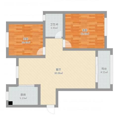 恒信佳苑两室两厅田园风2室1厅1卫1厨97.00㎡户型图