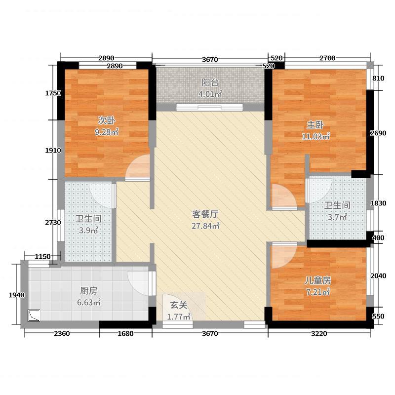 启迪协信深圳科技园93.00㎡3#A户型3室3厅2卫1厨