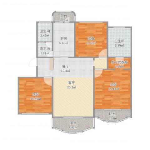 爱法新都3室1厅2卫1厨108.00㎡户型图
