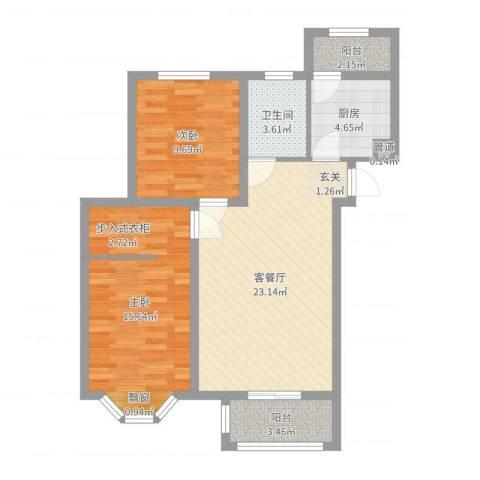 宽城2室2厅1卫1厨78.00㎡户型图