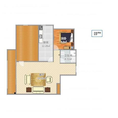 开元观唐1室1厅1卫1厨118.00㎡户型图
