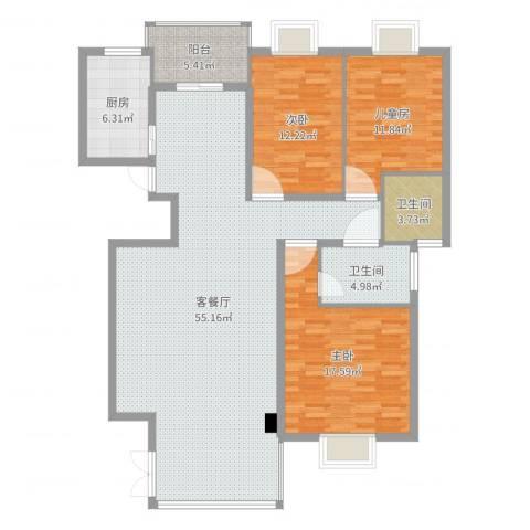 滨江花园3室2厅2卫1厨147.00㎡户型图