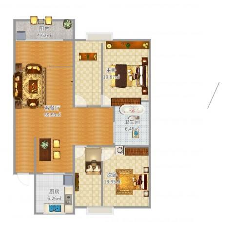 梦园小区2室2厅1卫1厨120.00㎡户型图