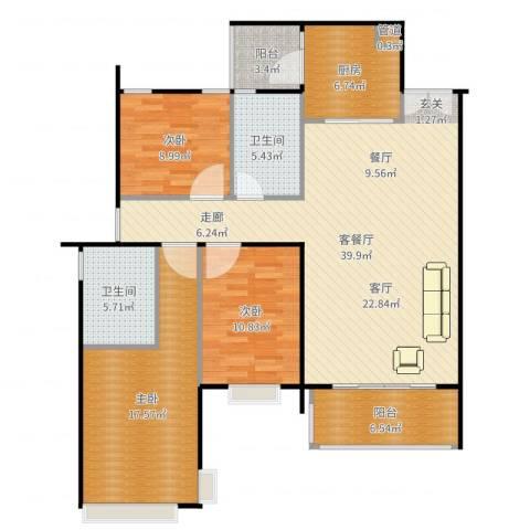 天韵瑚璟3室2厅3卫1厨132.00㎡户型图