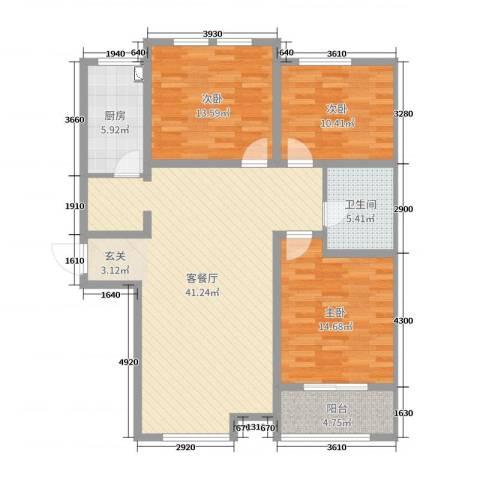 新世纪花园3室2厅1卫1厨120.00㎡户型图