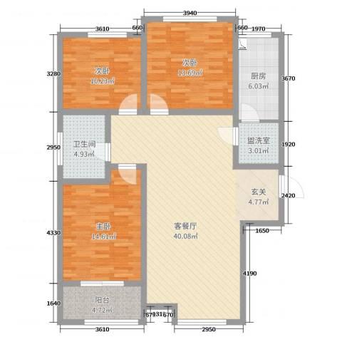 新世纪花园3室2厅1卫1厨122.00㎡户型图