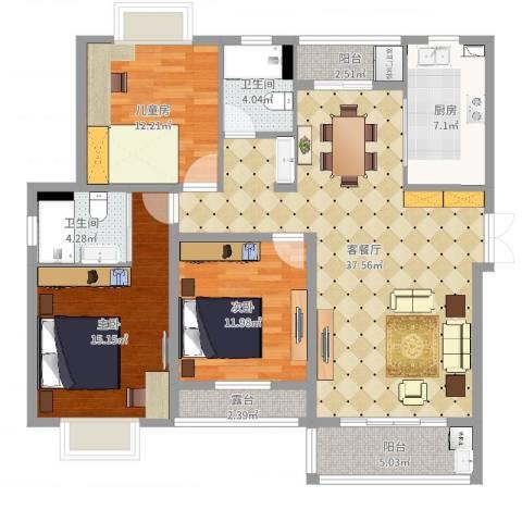 浒墅人家3室2厅2卫1厨128.00㎡户型图