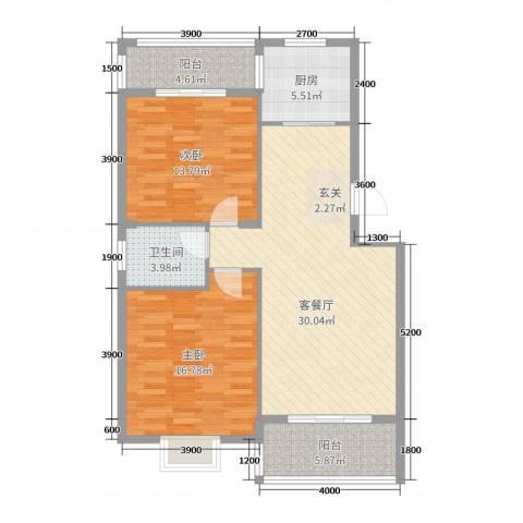 凤华名邸2室2厅1卫1厨86.00㎡户型图
