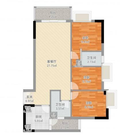 海悦大厦3室2厅2卫1厨89.00㎡户型图