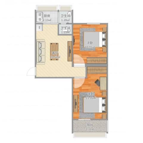 联强小区2室1厅2卫1厨73.00㎡户型图