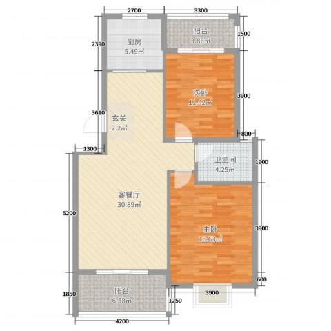 凤华名邸2室2厅1卫1厨84.00㎡户型图