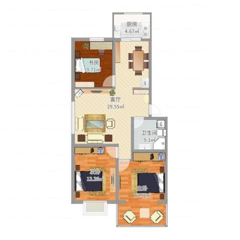 隆西佳苑小区3室1厅1卫1厨97.00㎡户型图