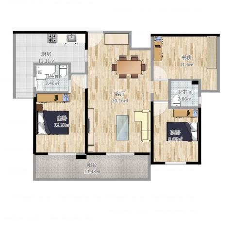 时代广场3室1厅2卫1厨115.00㎡户型图