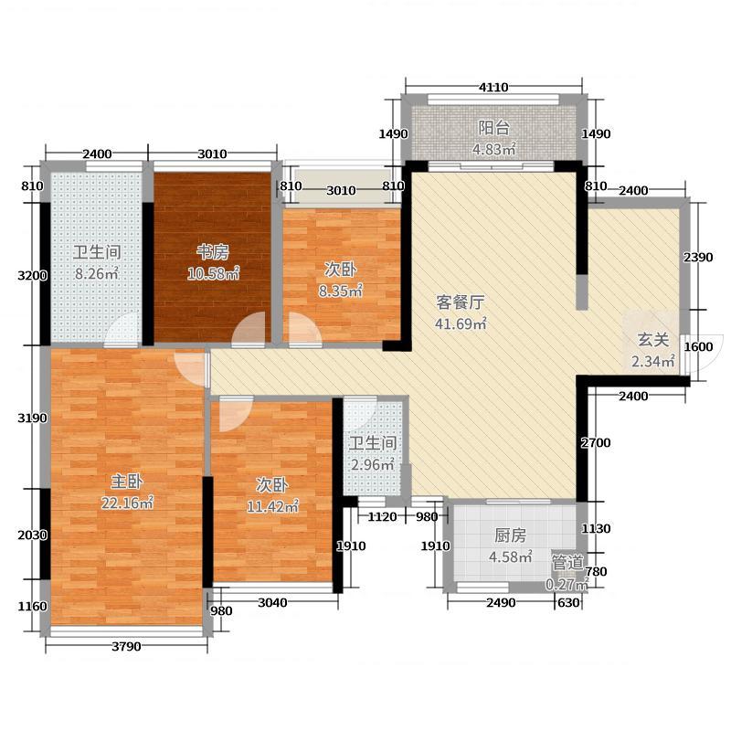 路桥・锦绣国际126.75㎡3号楼二单元B户型3室3厅2卫
