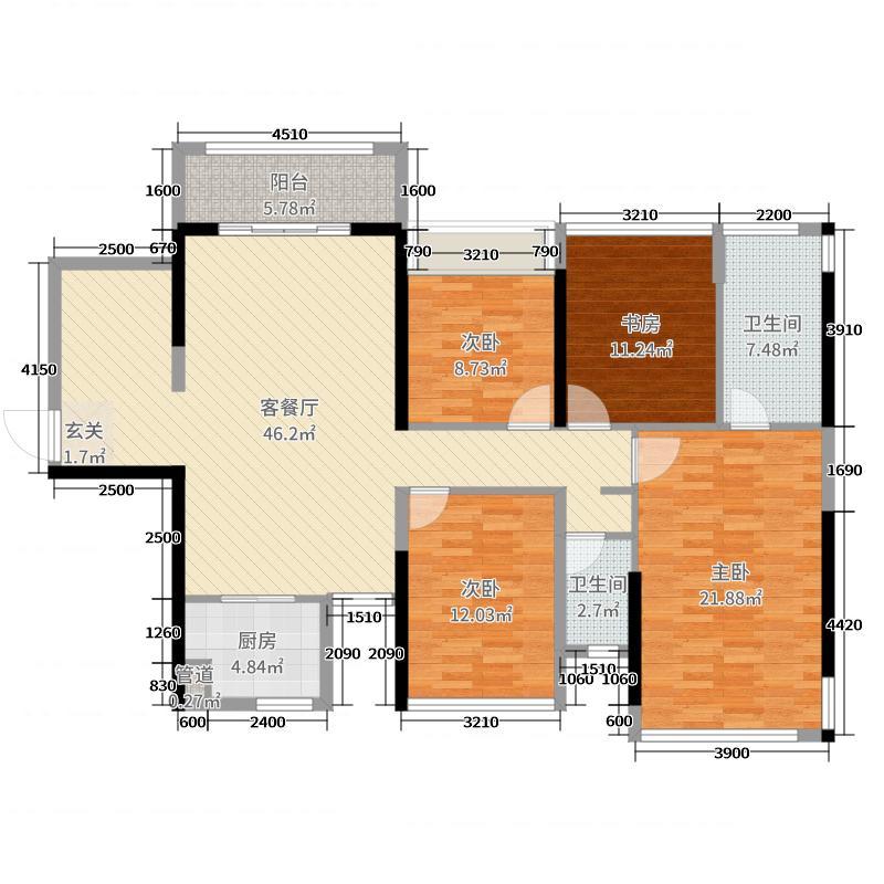 路桥・锦绣国际133.05㎡3号楼二单元C户型3室3厅2卫