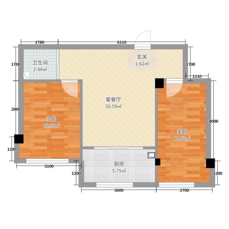 蓝山国际70.44㎡E户型2室2厅1卫1厨