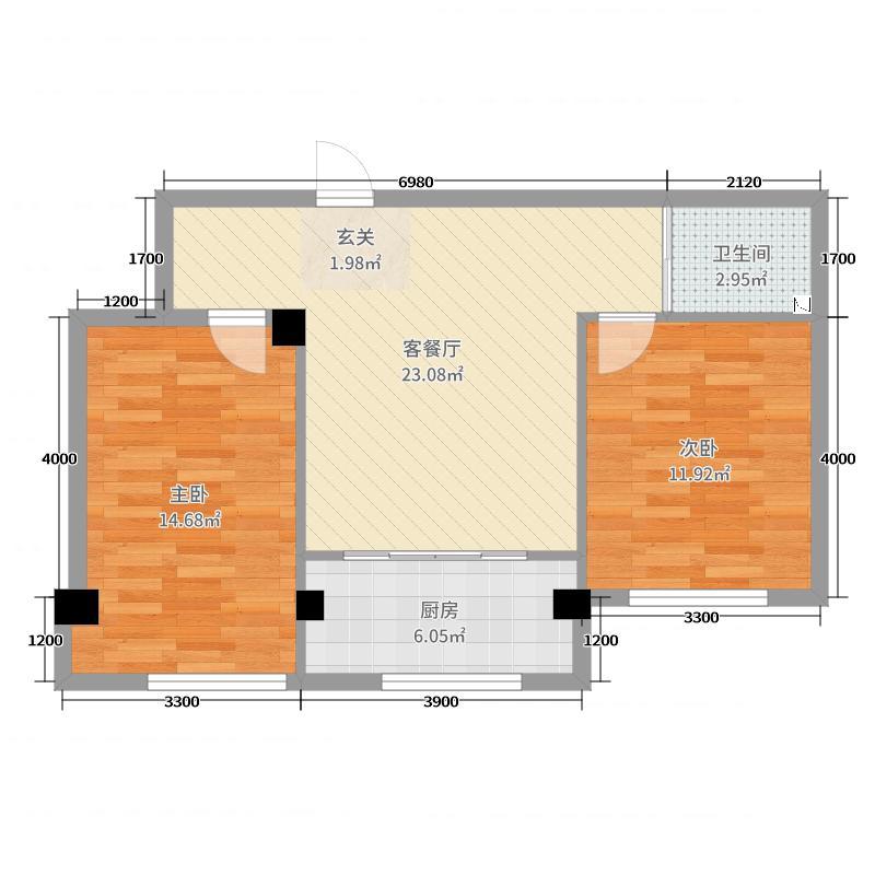 蓝山国际77.79㎡B户型2室2厅1卫1厨
