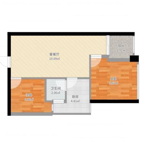 警备区龙华公寓2室2厅1卫1厨56.00㎡户型图