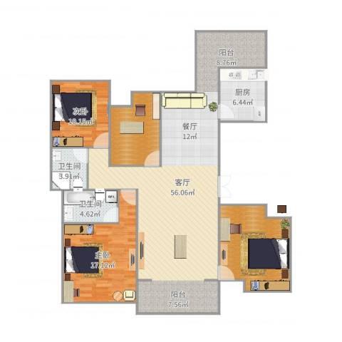 济民可信艾溪康桥2室1厅2卫1厨152.00㎡户型图