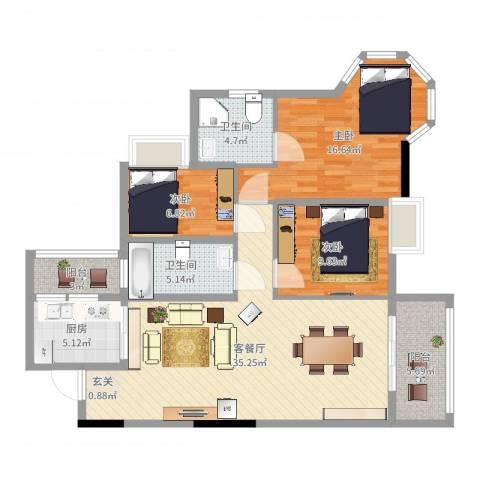 云峰花园四期3室2厅2卫1厨115.00㎡户型图