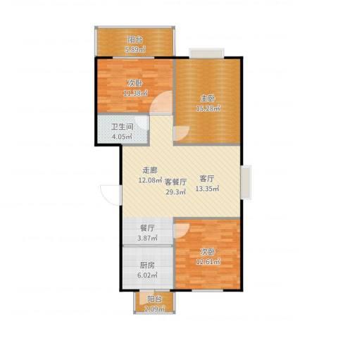 碧水云天颐园3室2厅1卫1厨108.00㎡户型图