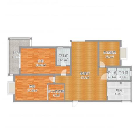 贵都之星2室2厅3卫1厨153.00㎡户型图