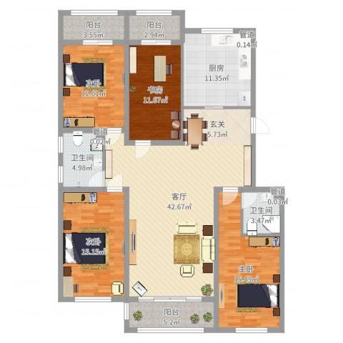 盛和湾4室1厅2卫1厨161.00㎡户型图