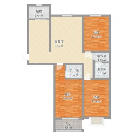 恒顺世纪中心3室4厅2卫1厨120.00㎡户型图