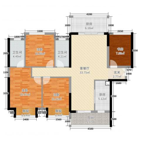 远洋・翡丽郡4室2厅2卫2厨130.00㎡户型图