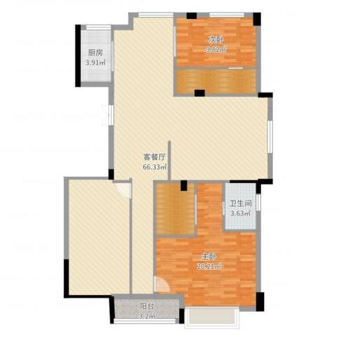 浙水阳光天地小区2室2厅1卫1厨146.00㎡户型图