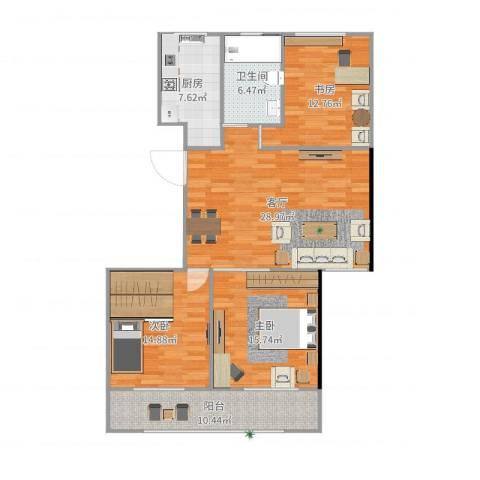 阳光・城市花园3室1厅1卫1厨121.00㎡户型图