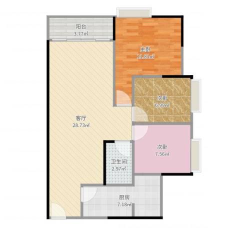 金都名苑(容桂)3室1厅1卫1厨86.00㎡户型图