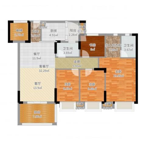 滨江一号4室2厅2卫1厨129.00㎡户型图