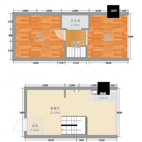 鑫秋大厦2室2厅1卫0厨51.00㎡户型图