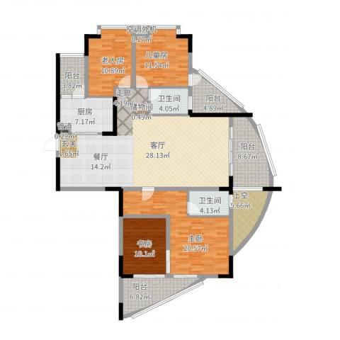 美林・银谷4室2厅2卫1厨211.00㎡户型图