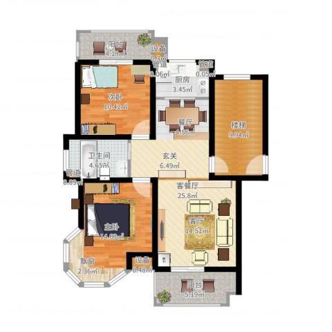 竟达星河湾2室2厅1卫1厨98.00㎡户型图