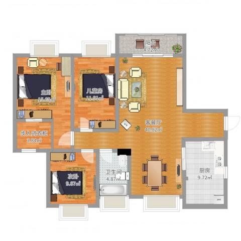 阳光小区3室2厅1卫1厨126.00㎡户型图