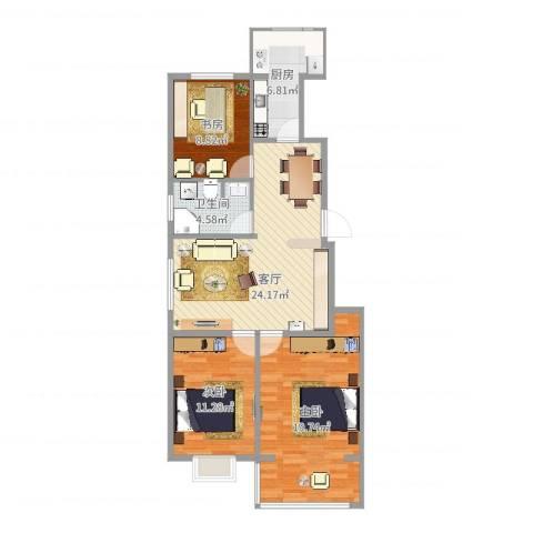 隆西佳苑小区3室1厅1卫1厨94.00㎡户型图