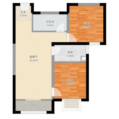 多彩嘉园2室2厅1卫1厨71.00㎡户型图
